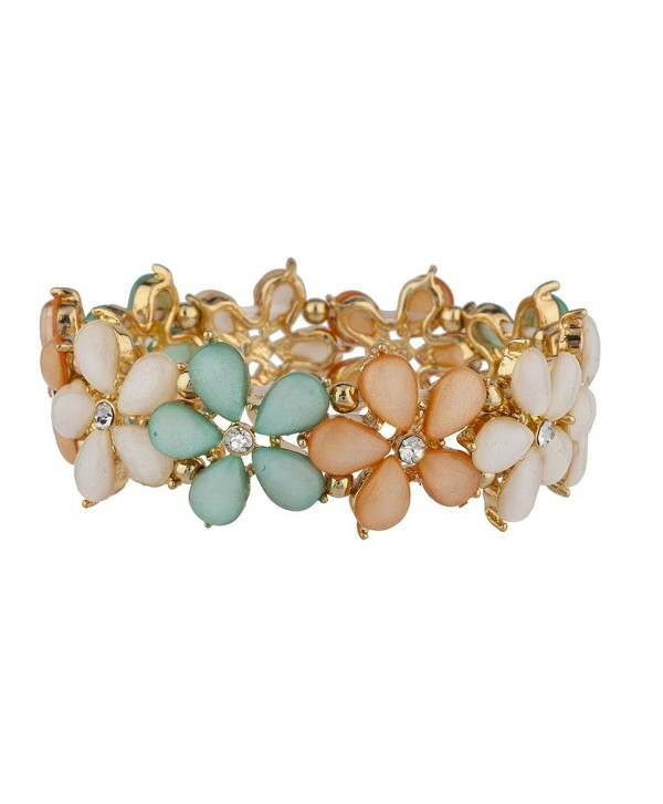 Lux Accessories Shades of Spring Flower Stretch Bracelet - CN12HHCWXJ1