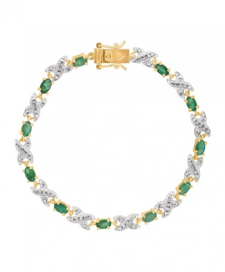 2 3/8 ct Natural Emerald Xo TennisBracelet with Diamond in 10K Gold-Plated Sterling Silver - CH1853KH0DQ