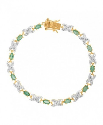 Natural Emerald TennisBracelet Gold Plated Sterling