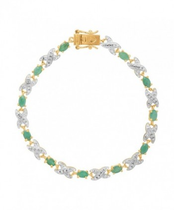 Natural Emerald TennisBracelet Gold Plated Sterling in Women's Tennis Bracelets