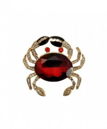 TTjewelry Fashion Jewelry Lovely Red Crab Animal Gold Tone Brooch Pin Rhinestone Crystal - CR12O5O2E89