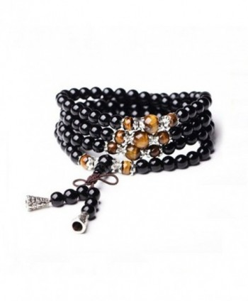 CASOTY Multilayer Tiger Eye and Obsidian Malas Prayer Beads Bracelet Good Fortune (6mm Obsidian Bracelet) - CO128RTV5XX