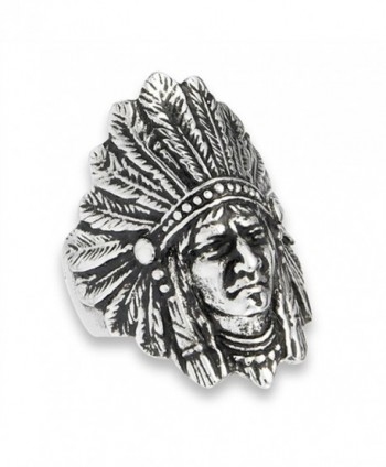 Native American Feather Headdress Indian Ring Stainless Steel Band Sizes 8-15 - C41827L75ZO