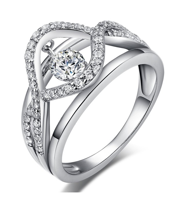 Han han 925 Sterling Silver Dancing Diamond Cubic Zirconia Ring - C812IFJD5R9
