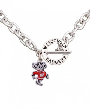 Wisconsin Badgers Team Name Toggle Silver Necklace Red Enamel Charm Jewelry UW - CM12CIIBIBX