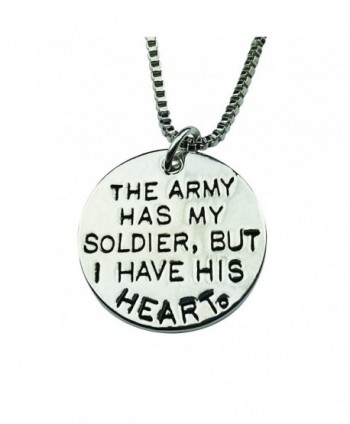 Art Attack Silvertone Army Has My Soldier I Have His Heart Love & War Military Armed Services Pendant Necklace - CS12I3KX967