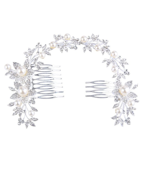 BriLove Women's Bohemian Sunflower Leaf Ivory Color Simulated Pearl Crystal Bride Hair Comb Headband - CX11YLIJ6GX