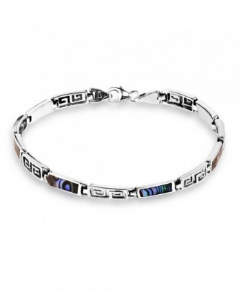 Greek Key Labyrinth Abalone Shell Inlay .925 Sterling Silver Link Bracelet - CA12KT56QLJ