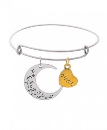"Moon And Heart Pendants ""Mom I Love You To The Moon And Back "" Expandable Wire Bangle Bracelet - Aunt - C617AA3I97W"