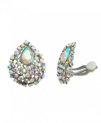 SELOVO Clear AB Austrian Crystal Teardrop Clip on Stud Earrings Iridescent Color Stone Silver Tone - CQ183GX8OAL