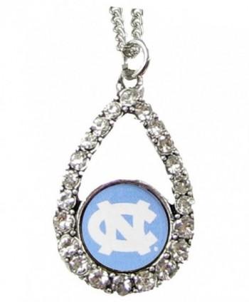 North Carolina Tar Heels Blue Teardrop Clear Crystal Silver Necklace Jewelry UNC - CJ11J1G16IL