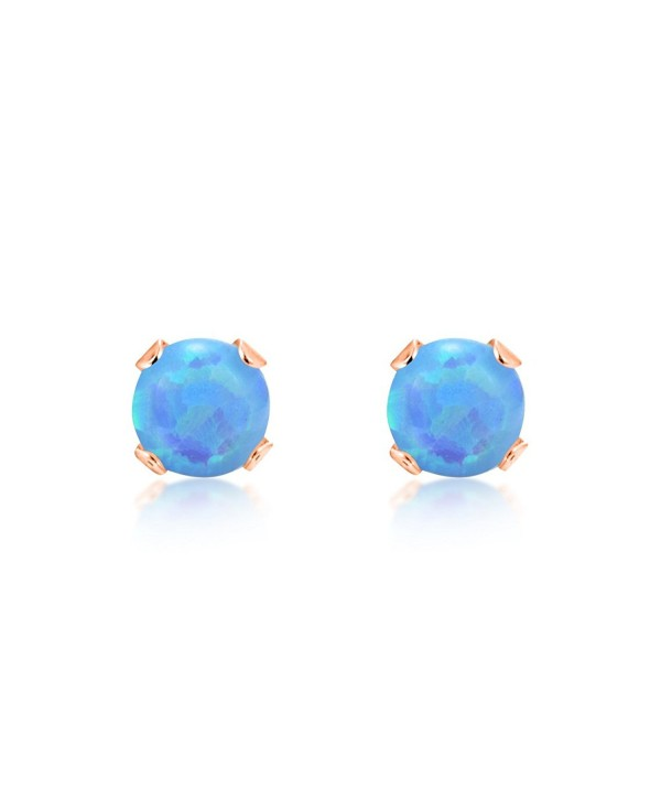 Round 3mm Baby Blue Simulated Opal Stud Earrings - .925 Sterling Silver- Rose or Yellow Gold Plated - C11219XBFCZ