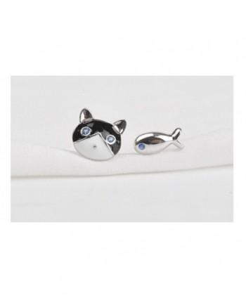 Sterling Silver Cute Cat and Fish Stud Earrings - CY11NRM1BZN