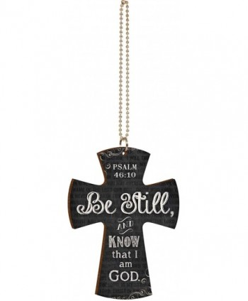 Be Still and Know That I Am God Scripture Page Chalkboard Look Cross Wood Car Charm - C011QNDY40R
