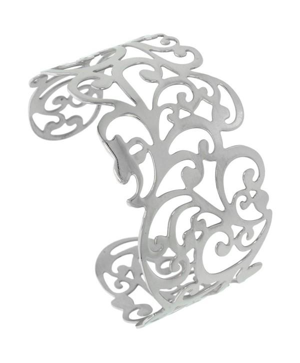 Stainless Steel Wide Cuff Bracelet for Women 1 1/2 - 2 inch wide- size 7.5 inch - C3115WGO65J