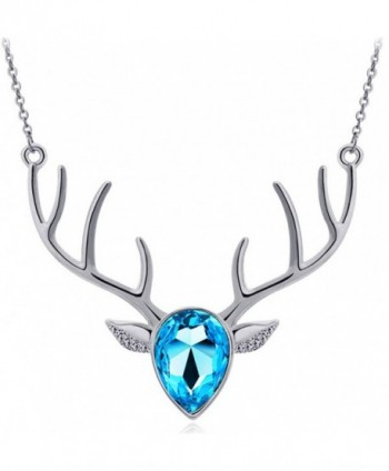 Wiipu Factory sale silver blue-violet charm necklace-hot sell Deer shape crystal necklace(C781) - CV11F0RIZXJ