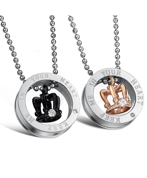 Titanium Crown and Ring Cz Pendant with Stainless Steel Chain Lovers Necklace - CG11VGDSKAD