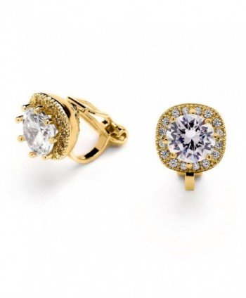Mariell 14K Gold Plated Clip On CZ Stud Earrings - Cushion Shape 10mm Halo Round Cut Nonpierced Jewelry - CX17YXIELW5