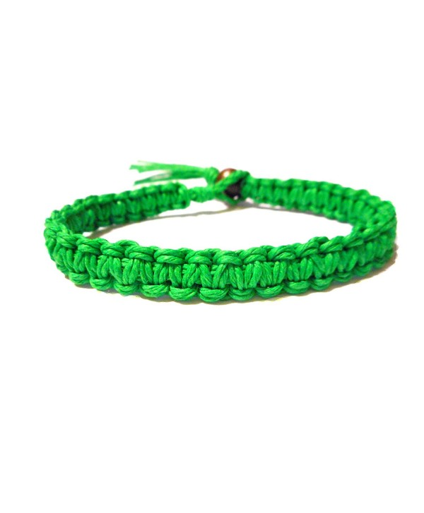 Green Surfer Hawaiian Style Stackable Hemp Bracelet - Handmade - CJ118SH491F