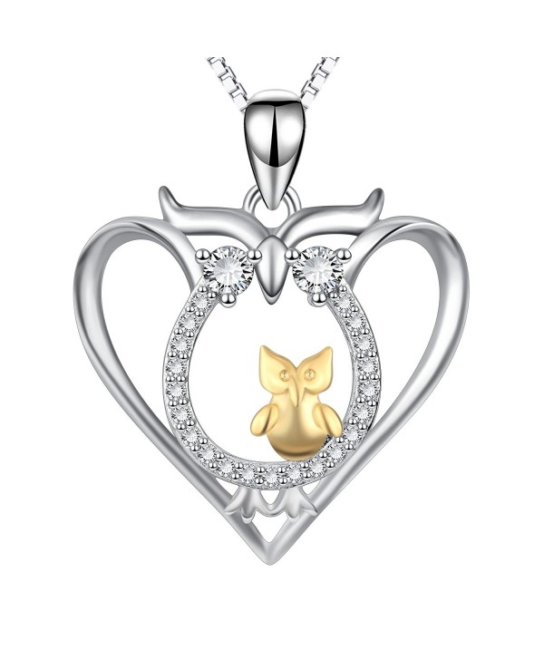 Owl Jewelry 925 Sterling Silver Mother Two-tone Child Love Heart Owl Necklace - CR184DMKQ7C