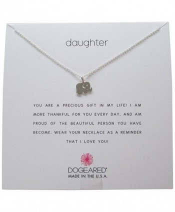 "Dogeared Daughter Sterling Silver Elephant Reminder 16""-18"" Boxed Necklace - CW11ZBES5CH"
