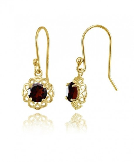 Sterling Silver or Yellow Gold Flashed Gemstone Round Filigree Dangle Earrings - Yellow Gold Flash Garnet - CZ183O9KN8K