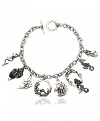 RechicGu Retro Princess Ariel Mermaid Sea Horse Conch Charm Toggle Cuff Bangle Bracelet - Vintage Silver Tone - CO185D5GA8A
