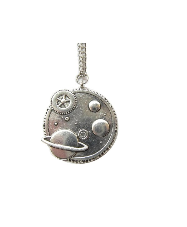 Galaxy Necklace-silver Steampunk Necklace Milky Way Pendant-celestial- Planet Earth Necklace - CN128Q34YGF