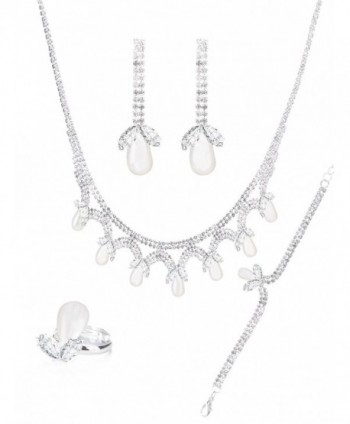 MOOCHI Silver Plated Cubic Zirconia Crystal Necklace Earrings Bracelt Ring Jewelry Set - CA187244KTL