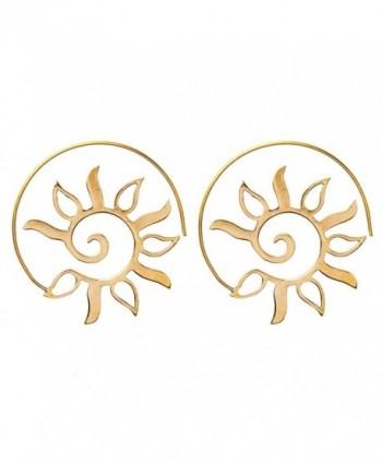 81stgeneration Women's Brass Gold Tone Spiral Sun Leaf Ethnic Tribal Earrings - C912LJ0DO95
