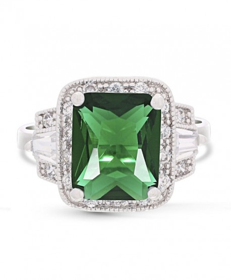 JanKuo Jewelry Rhodium Plated Emerald Cut Green Emerald Color Engagement Ring - CF117QJO53N