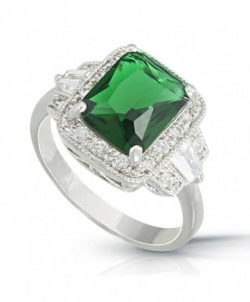 JanKuo Jewelry Rhodium Rectangular Emerald