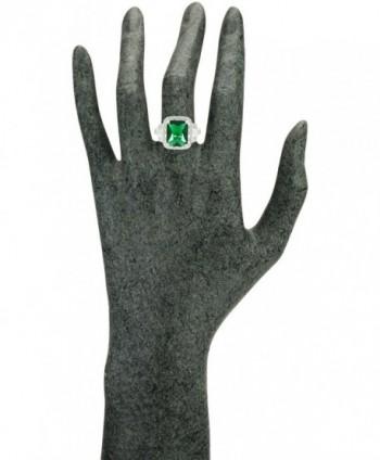JanKuo Jewelry Rhodium Rectangular Emerald in Women's Statement Rings