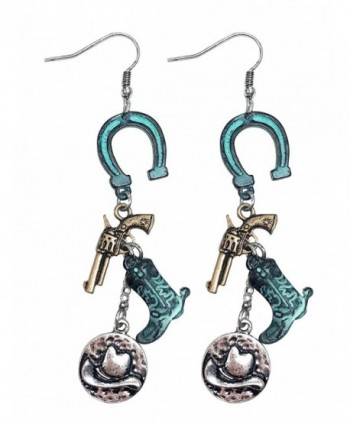 Western cowgirl rodeo horseshoe cowboy boot charm earrings - PATINA - CE187IXAU7U