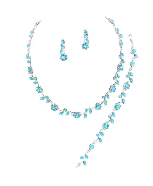 Affordable Aqua Blue Color Crystal Bridesmaid 3 Bridal Necklace- Earring- Bracelet Set I2 - CG11DKLG2MX