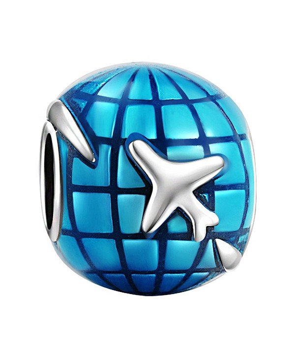 SOUFEEL Blue Earth With Airplane Travelling Charm 925 Sterling Silver Charms Fit European Bracelets - CJ11YNUIPDJ