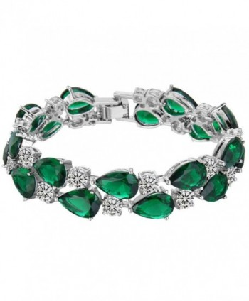EVER FAITH Women's Prong Cubic Zirconia Vintage Style Dual Layer Tear Drop Bracelet - Green Silver-Tone - CN126EQEISP