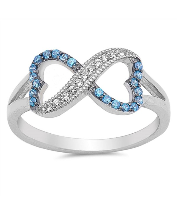 Infinity Heart Blue Simulated Sapphire Ring New .925 Sterling Silver Band Sizes 4-10 - C912JBXGLZ1