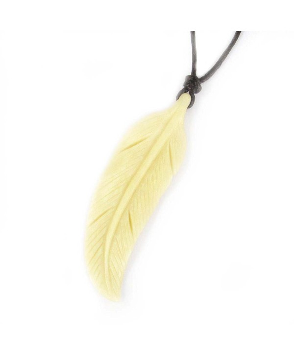 Ox Bone Carved Feather Pendant Necklace - CT1199PRE5N