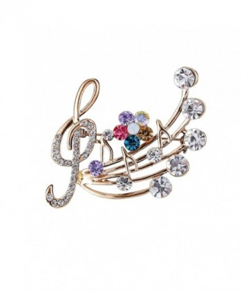 YinMai Treble Clef Musical Notes Brooch Pin Multicolor Rhinestone flower Brooch - C7187850A96