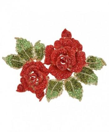EVER FAITH 6 Inch Rose Flower Red Austrian Crystal Brooch - C011BGDLW77