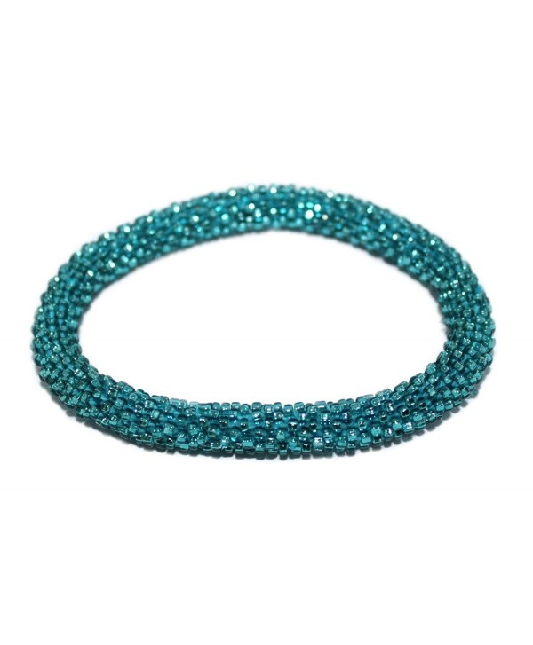 Crochet Glass Seed Bead Bracelet Roll on Bracelet Nepal Bracelet SB470 - CJ1290VHS3D