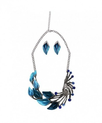 iNewcow Tibetan Silver Blue Peacock Crystal Earrings Necklace Set For Wedding Party - CS11TLR2XJL