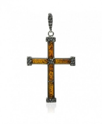 Sterling Silver Amber Cross Pendant - C411B9KCIXT