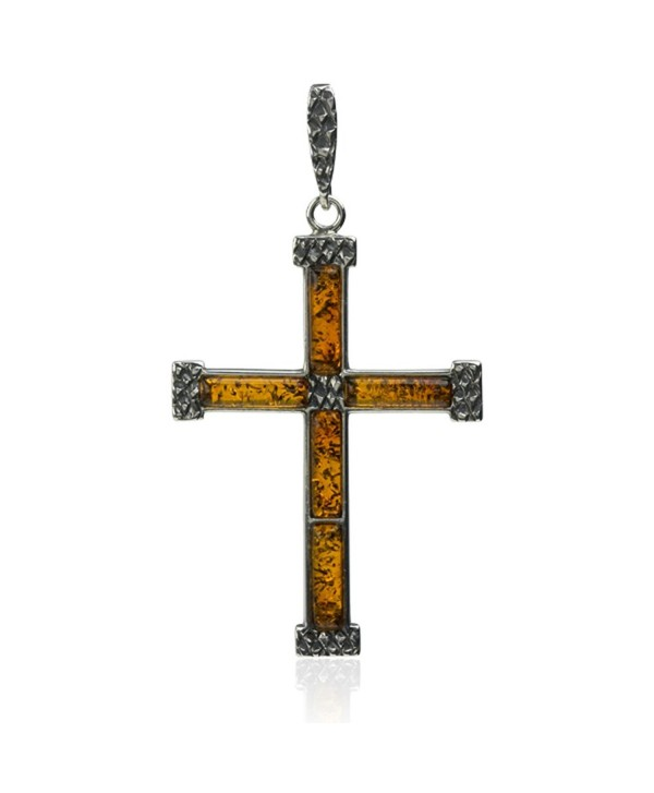 Sterling Silver Amber Cross Pendant - C411B9KCIXT