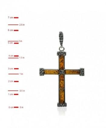 Sterling Silver Amber Cross Pendant in Women's Pendants
