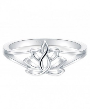 BORUO 925 Sterling Silver Ring- Lotus Flower Yoga High Polish Tarnish Resistant Comfort Fit Wedding Band 2mm Ring - CA188G85KCE