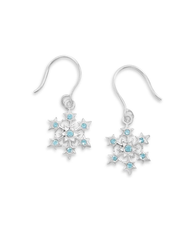 Small Snowflake with Blue Crystal Earrings Sterling Silver - CE1193HO8AZ