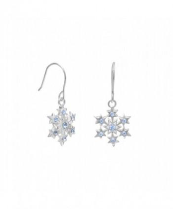 Snowflake Crystal Earrings Sterling Silver