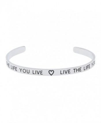 "High Polished Stainless Steel ""Love The Life You Live- Live The Life You Love"" Inspirational Bracelet - CL12M8UC8KL"